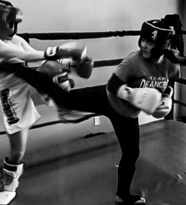 Justina sparring at CHampion's Fitness Center