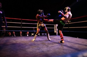 Andrew with a strong push kick at his last fight, Battle of the Millenium 2