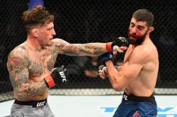 PITTSBURGH, PA - SEPTEMBER 16: (L-R) Gregor Gillespie punches Jason Gonzalez in their lightweight bout during the UFC Fight Night event inside the PPG Paints Arena on September 16, 2017 in Pittsburgh, Pennsylvania. (Photo by Josh Hedges/Zuffa LLC/Zuffa LLC via Getty Images)